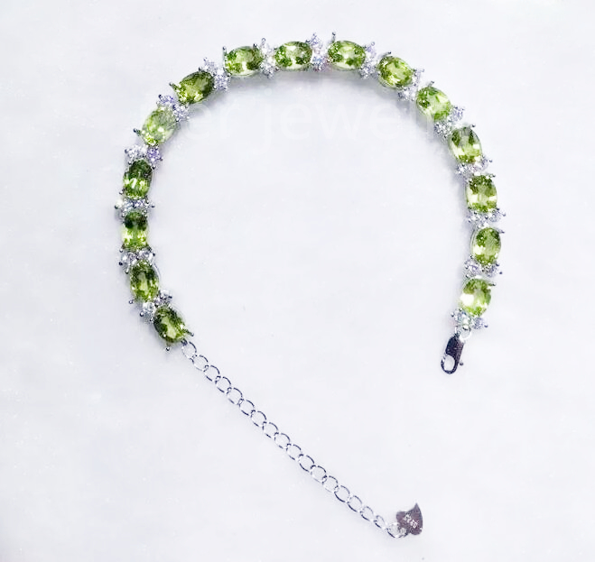 Natural peridot chain bracelet Original natural peridot olivine 925 sterling silver 0.95ct*15pcs gems #XY16030117