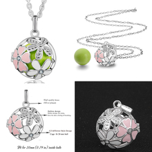 EUDORA Harmony Bola Pink Flower Locket 20mm Cage Pendant Necklace fit Chime Mexican Bola Fine Jewelry for Pregnant Women K116