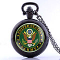 US Army Military Theme Pocket Watch Men Women Quartz Fob Watches Casual Sport Clock Vintage Necklace Pendant Chain DIY Gifts