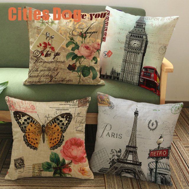 Pillow Cushion Decorative Pillows Vintage Eiffel Tower Big Ben Extraordinary How To Use Decorative Pillows