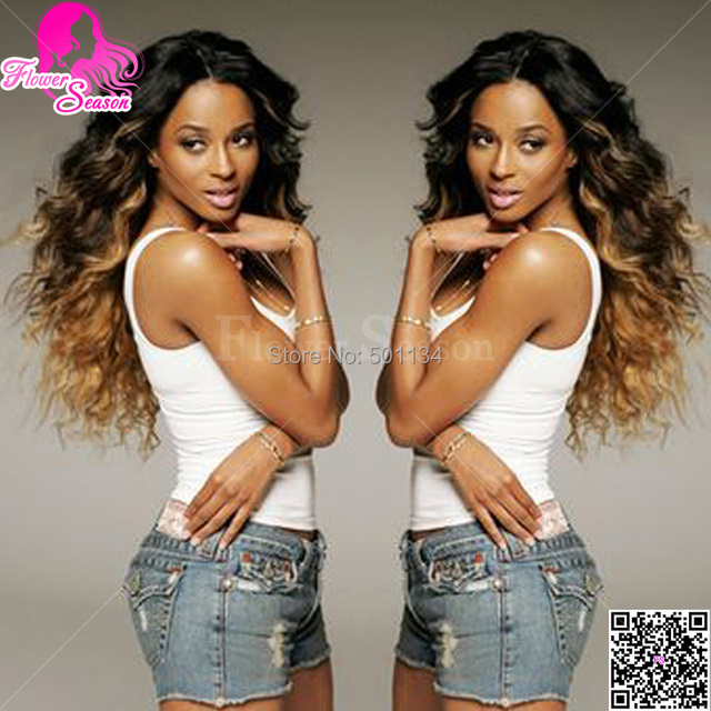 Ombre Wig 1b/#27 Beyonce Fashion Ombre Wavy Full Lace Wig Brazilian Two Tone Full Lace Wig Human Hair For Queen Women Sale Cheap
