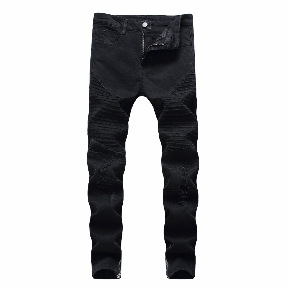 High quality 2019 autumn winter Casual Slim Black Men's wear jeans leisure hole man stretch feet cowboy Pleated pants