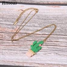 Rttooas DIY Cactus Pendant Necklace Handmade MIYUKI Beads Woven Fashion Women