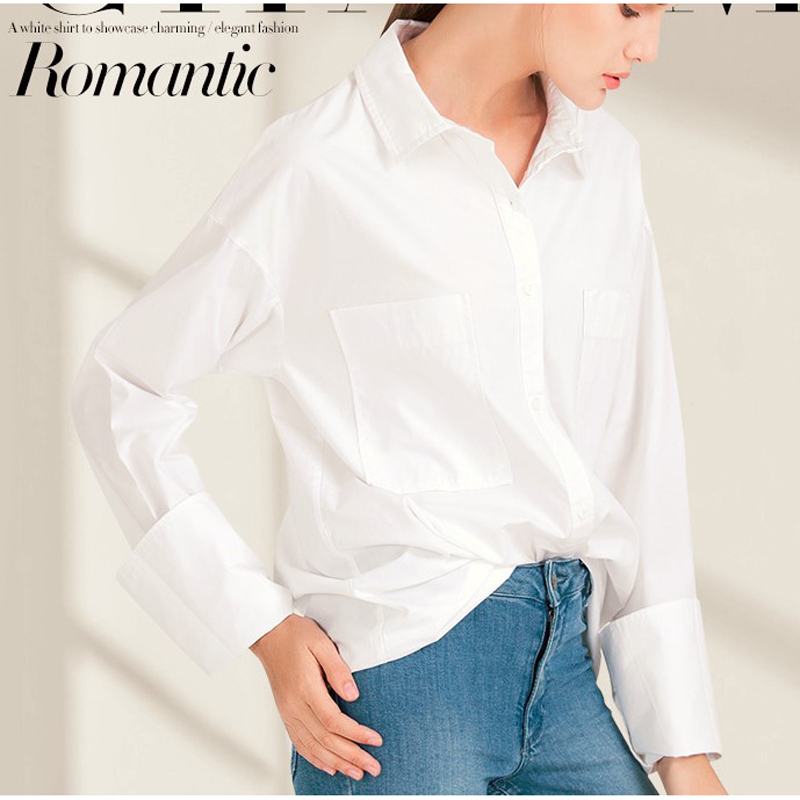 J.DeL'or women's oversize shirt, BF style casual white shirt