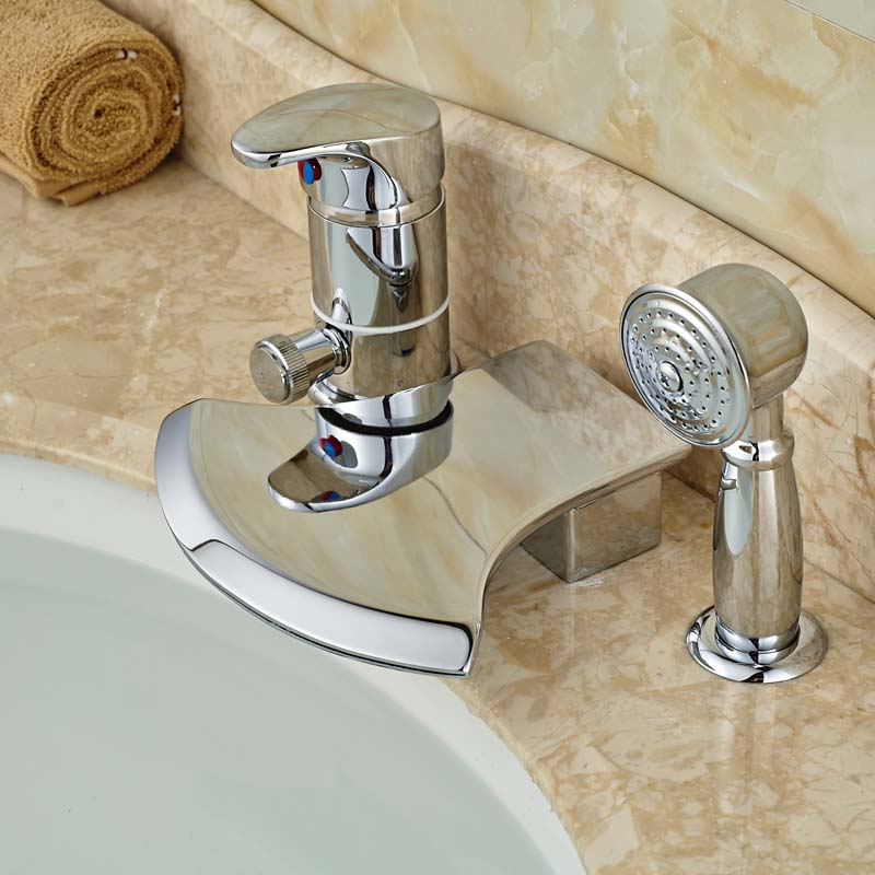 Deck Mounted Chrome Plated Brass Thermostatic Mixing Valve: Brass Chrome Deck Mount 3 Holes Waterfall Bathtub Mixer