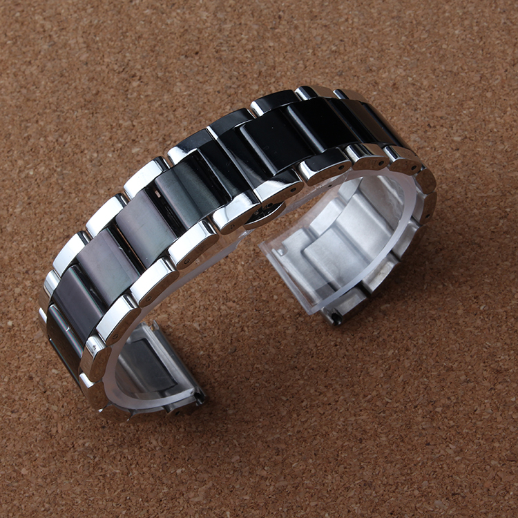 New Arrival Silver and black colorful Watchband Stainless Steel Metal Watches band bracelets Men Bracelets 18MM 20MM 22MM 24mm цена