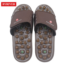 BYRIVER Akupresur Kualiti Berkualiti Tinggi Foot Massager Jade Stone Massage Slippers Shoes Shoes Reflexology Sandals Men Women Plantar Fasciitis