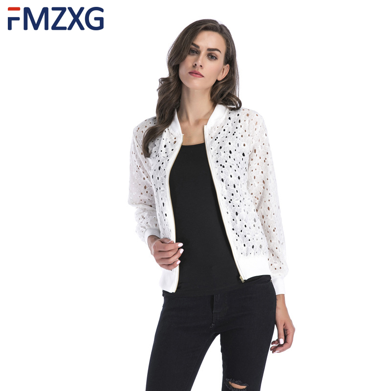 Lace Hollow Out   Basic     Jackets   2018 Spring Casual Slim Women Summer Sunscreen Thin   Jacket   White Black Lady Shorts Outwear   Jacket