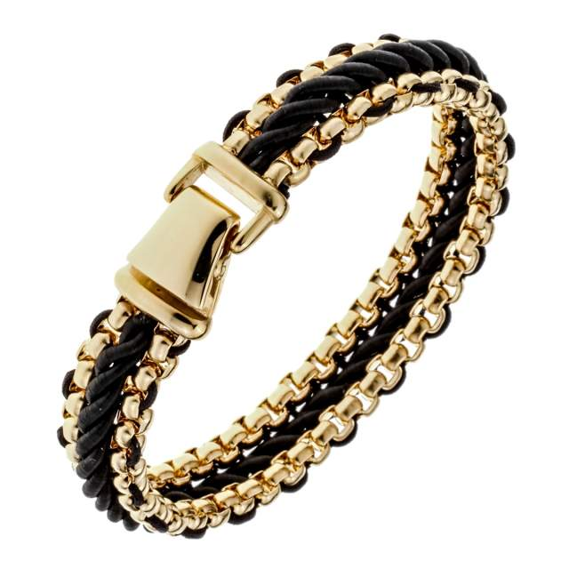 Online Shop Mens Black Leather Stainless Steel Hiphop Bracelet Gold Silver Color Jewelry Birthday Gifts For Dad Him Boyfriend Kids 85 D053