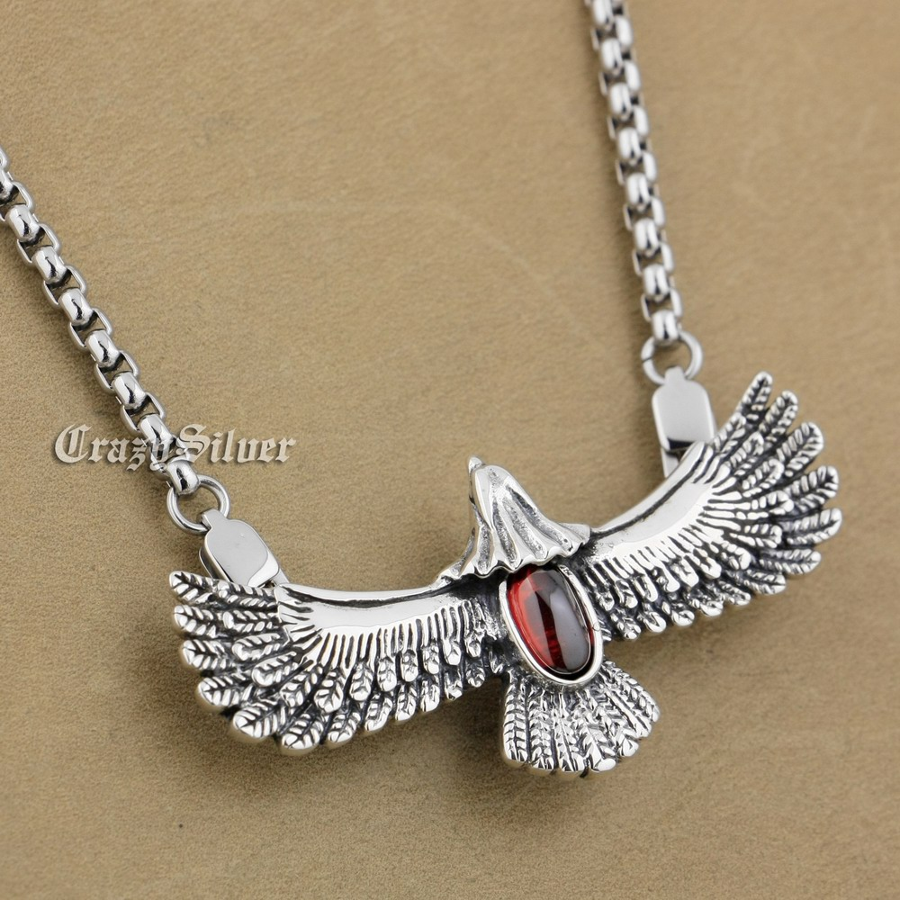 925 Sterling Silver Eagle Red CZ Stone Mens Biker Rocker Punk Pendant 9S028 (Steel Necklace 24inches)925 Sterling Silver Eagle Red CZ Stone Mens Biker Rocker Punk Pendant 9S028 (Steel Necklace 24inches)
