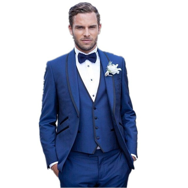 Latest Coat Pant Designs Navy Blue Groom Men Suit Wedding Suits ...