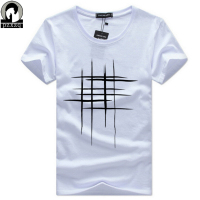 Simple Creative Design Line Cross Print T Shirts Men S New Arrival Summer Style Short Sleeve