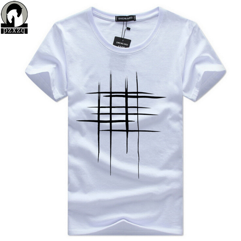 Simple creative design line cross Print T Shirts Men's New ...