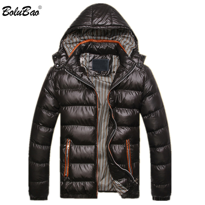BOLUBAO New Winter Men Parka Coat Fashion Thermal Cotton Male Solid Color Jackets Mens Casual Hooded Warm Parkas