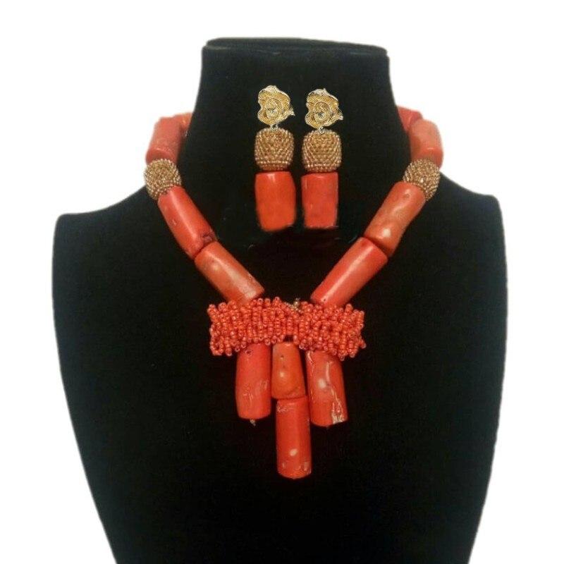 4 bijoux Dubai ensemble de bijoux perles de corail Orange + perles de cristal fait à la main nigérian femmes ensemble de bijoux pour Edo nuptiale mariages ensemble