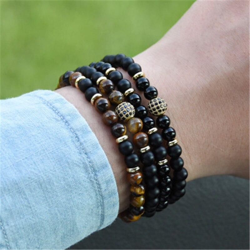 Neue 2 Teile/satz Zirkonia Bead Tiger Auge Lava Matt Onyx Naturstein Perlen Armbänder Armreifen Für Männer Frauen Armband Schmuck