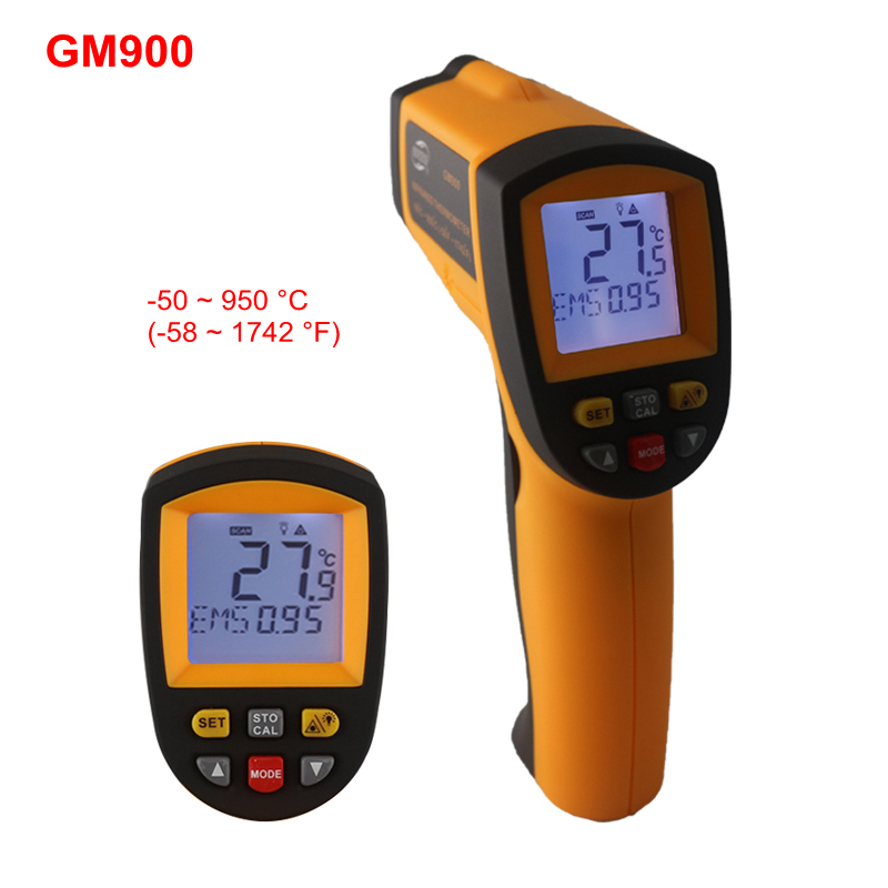 -50~900C -58~1652F Digital Pyrometer IR Infrared Thermometer Non-Contact Electronic Temperature Meter Point Gun GM900 цена