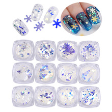 1 Box Transparent Blue Nail Sequins Shining Glitter Shapes Tips Manicure Glitters Decorations Tools