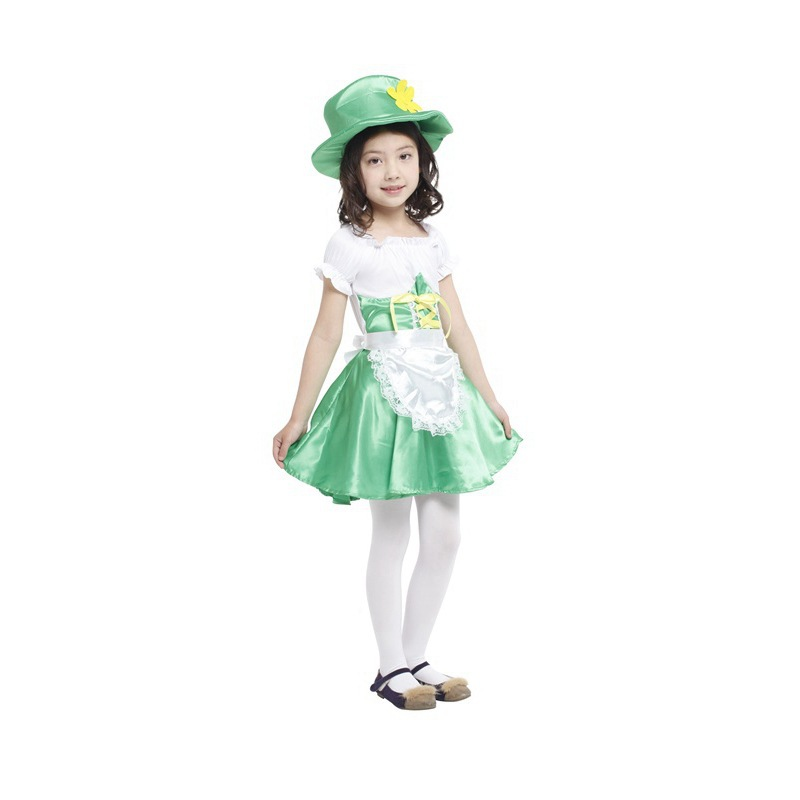 Girls Child Leprechaun Ireland Fairy Tale Cosplay Fancy Dress Carnival Performance Halloween Costume Green Onesie Kids Dress