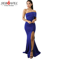 SEBOWEL Sexy Blue Off Shoulder Split Maxi Party Dress Women Elegant Strapless Bodycon Long Dress Female Floor Length Party Dress