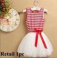 Девушки одеваются летом стиль полоса детей платья дети рукавов кружева платье принцессы девочка бантом платья TZ-A046