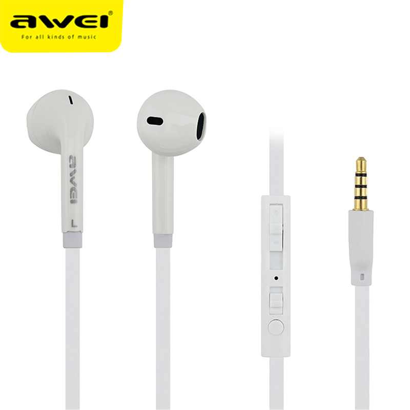 Awei ES-15Hi Wired Earphone For IPhone Samsung Earbuds Stereo Headset With Microphone Super Bass In-Ear Auriculares Earphones