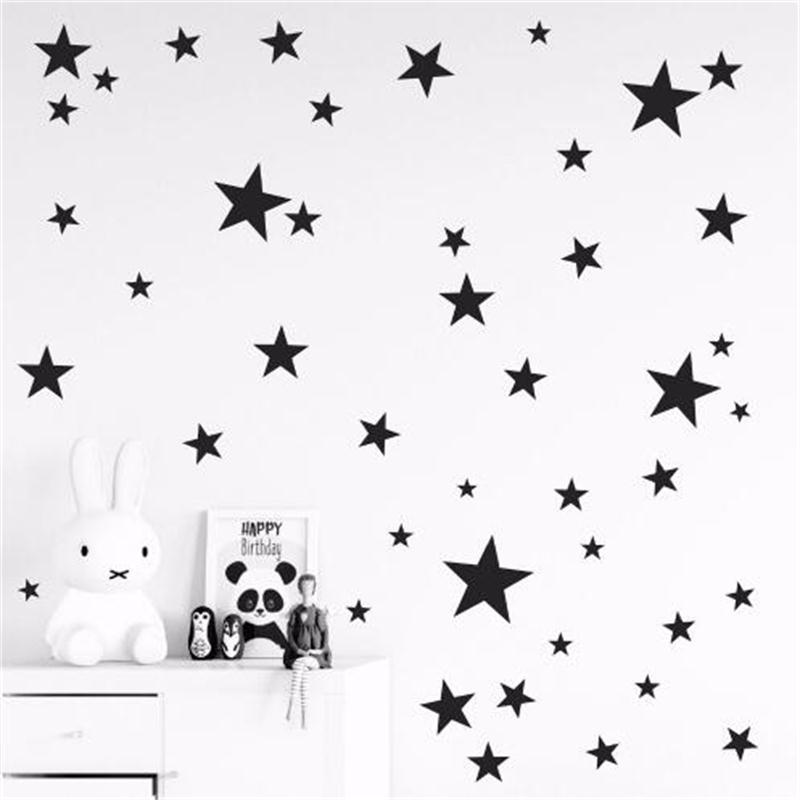 New 45/24pcs Cartoon Starry Wall Stickers For Kids Rooms Home Decor Little Stars Wall Decals Baby Nursery DIY Vinyl Art Mural(China)