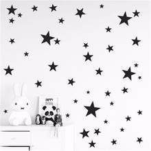 Novo 45/24 pçs dos desenhos animados adesivos de parede estrelado para crianças quartos decoração para casa pequenas estrelas decalques de parede do berçário do bebê diy vinil arte mural