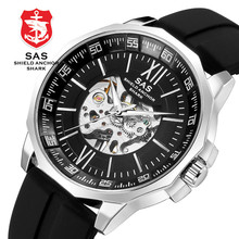 цена SAS Watch Men Luxury Waterproof Mechanical Hand Wind Watch Men Steel Men's Mechanical Self Wind Watches Watches Clock montre онлайн в 2017 году
