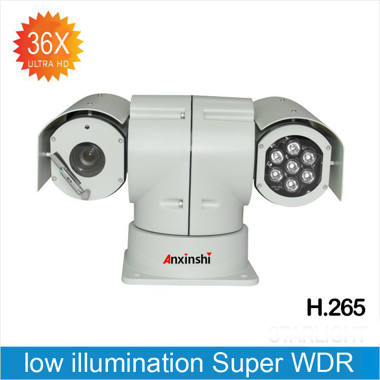 1080P36X Zoom 60fps Vehicle IP PTZ Camera Hi 3516A WDR 120 DB H.265 IP PTZ Camera Auto focus night version 150M Onvif IP