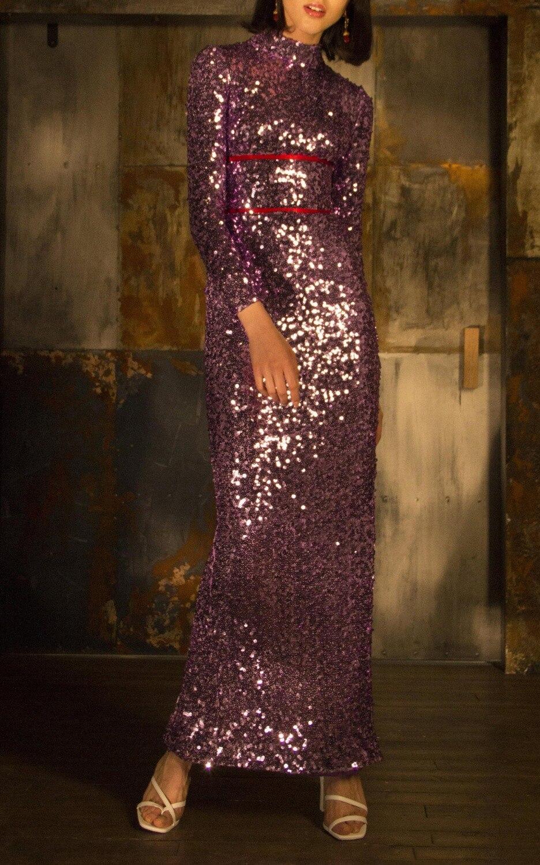 Top qualité violet à manches longues moulante mode robe soirée moulante robe
