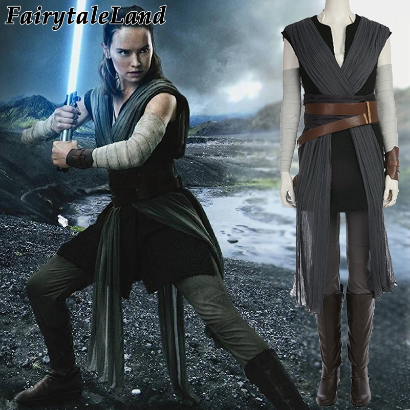 star wars The Last Jedi Rey cosplay Costume Carnival Halloween costume Star wars 8 Rey costume cosplay suit custom made dock connector to usb cable