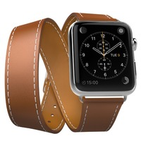 For Apple Watch Band Leather Loop 42mm Genuine Leather Band Double Watchband For Apple IWatch Strap