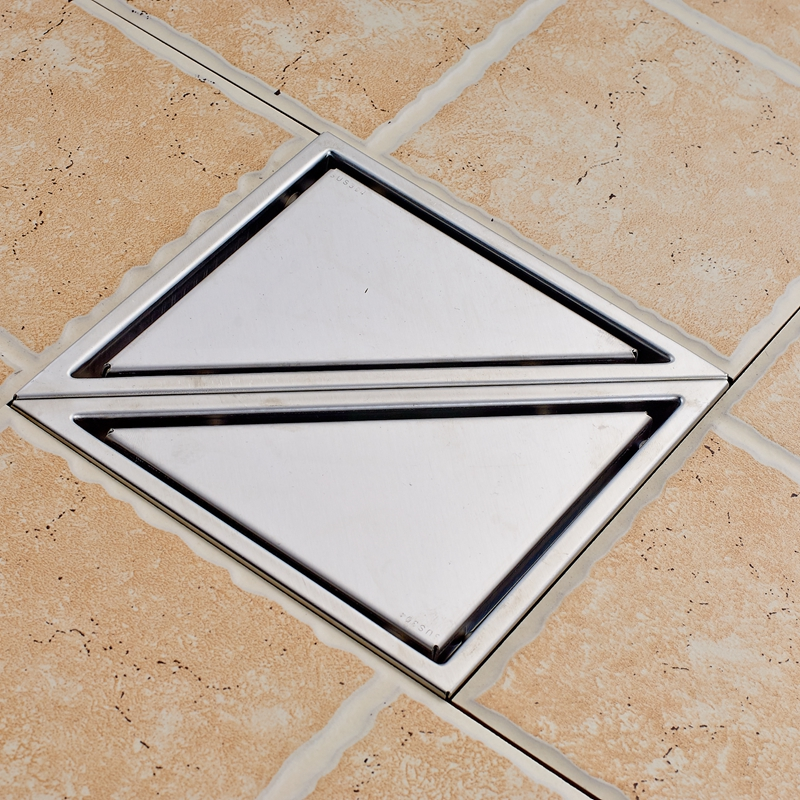 Modern Two Triangle Stainess Steel Floor Drain Water Discharge Ground Leakage gold stainess steel 70cm bathroom shower floor drain floor mount ground leakage