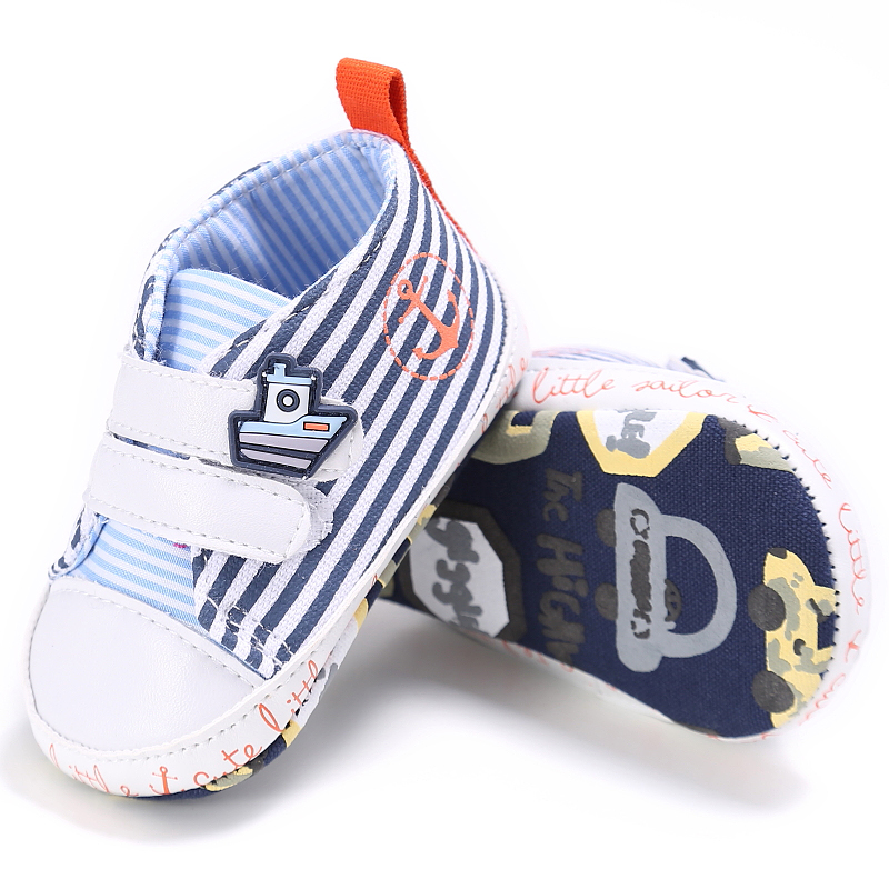 0-18 Months Baby Shoes Baby Boys Shoes First Walkers Cartoon Striped Toddler Infants Bebe Shoes