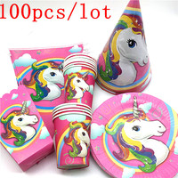 100pcs\lot Unicorn party suppiles decoration cardboard cups cartoon animals Unicorn party baby supplies festive party supplies