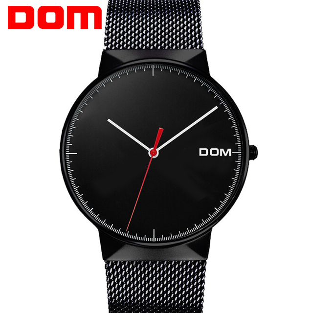 Watch Men DOM Brand Top Luxury Men's Watches Ultra Thin Stainless Steel Mesh Band Quartz Wristwatch Fashion casual M-32BK-1MH