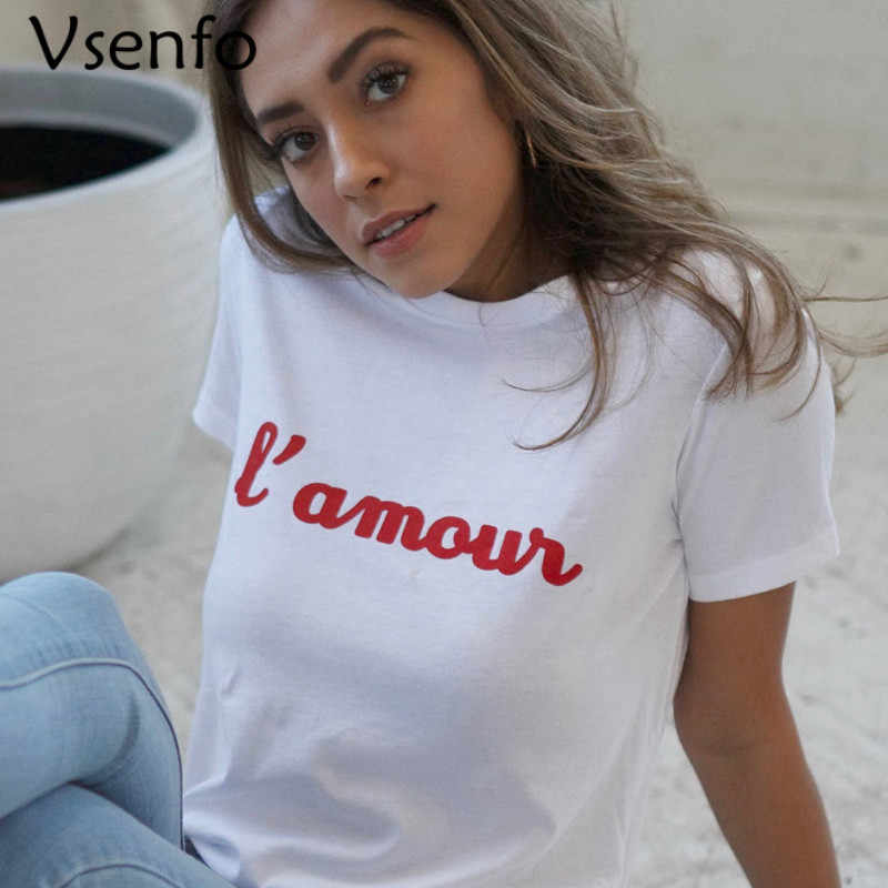 90cd4196 Women Fashion France L'Amour T Shirt Amour T-Shirt Casual Cotton Red Letters