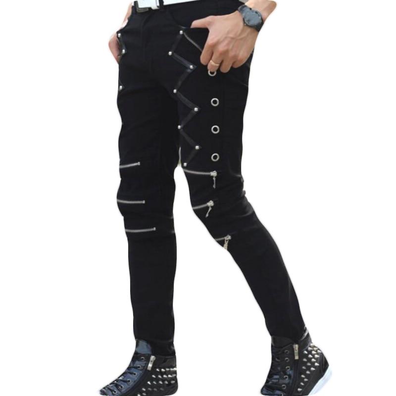 Mens Punk Skinny Pants For Man Cool Cotton Casual Pants Zipper Slim Fit Black Goth Trousers 2018 Autumn New