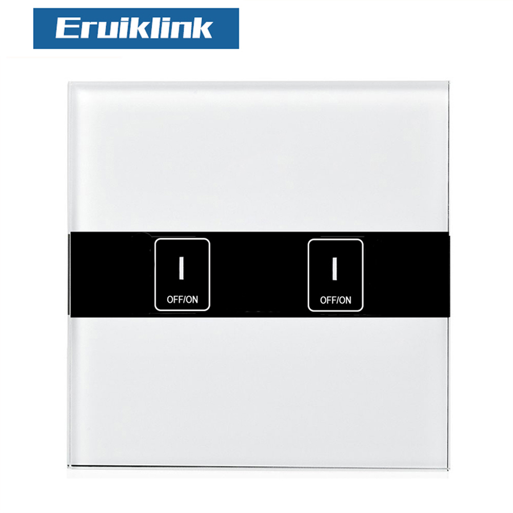 EU Standard eWelink 2 Gang Wifi Control Switch via Android and IOS, Wireless Control Light Touch Wall Switch for Smart Homne