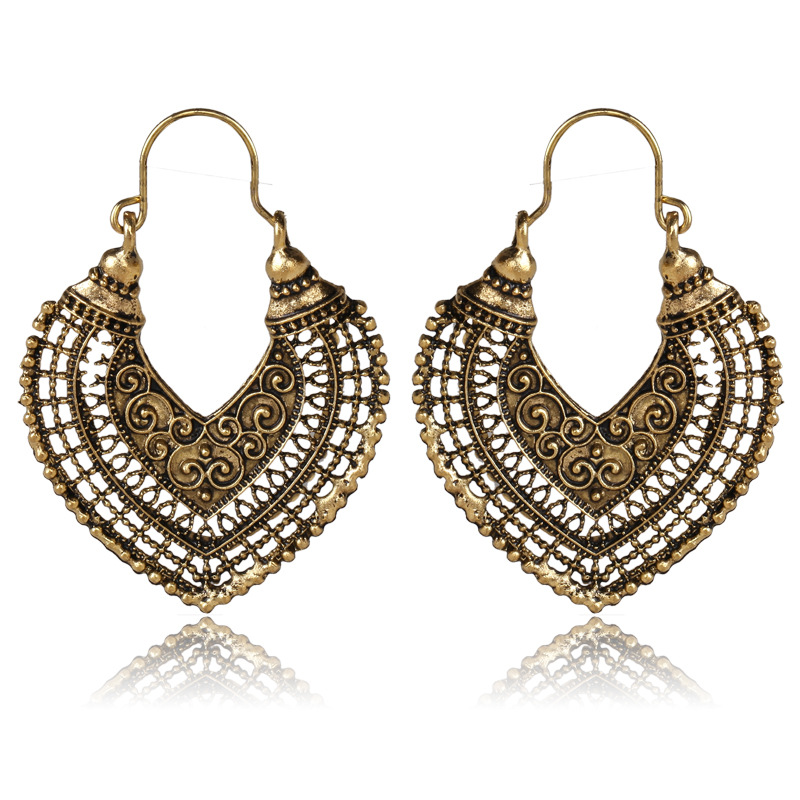 Bobemian Antique Gold Large Hanging Earrings Hollow Heart Design ...
