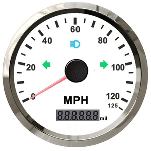 3 3/8' Universal GPS Speedometer 0-125MPH Adjustable Odometer With GPS Antenna With Red/Yellow Backlight Display ODO(0~999999)