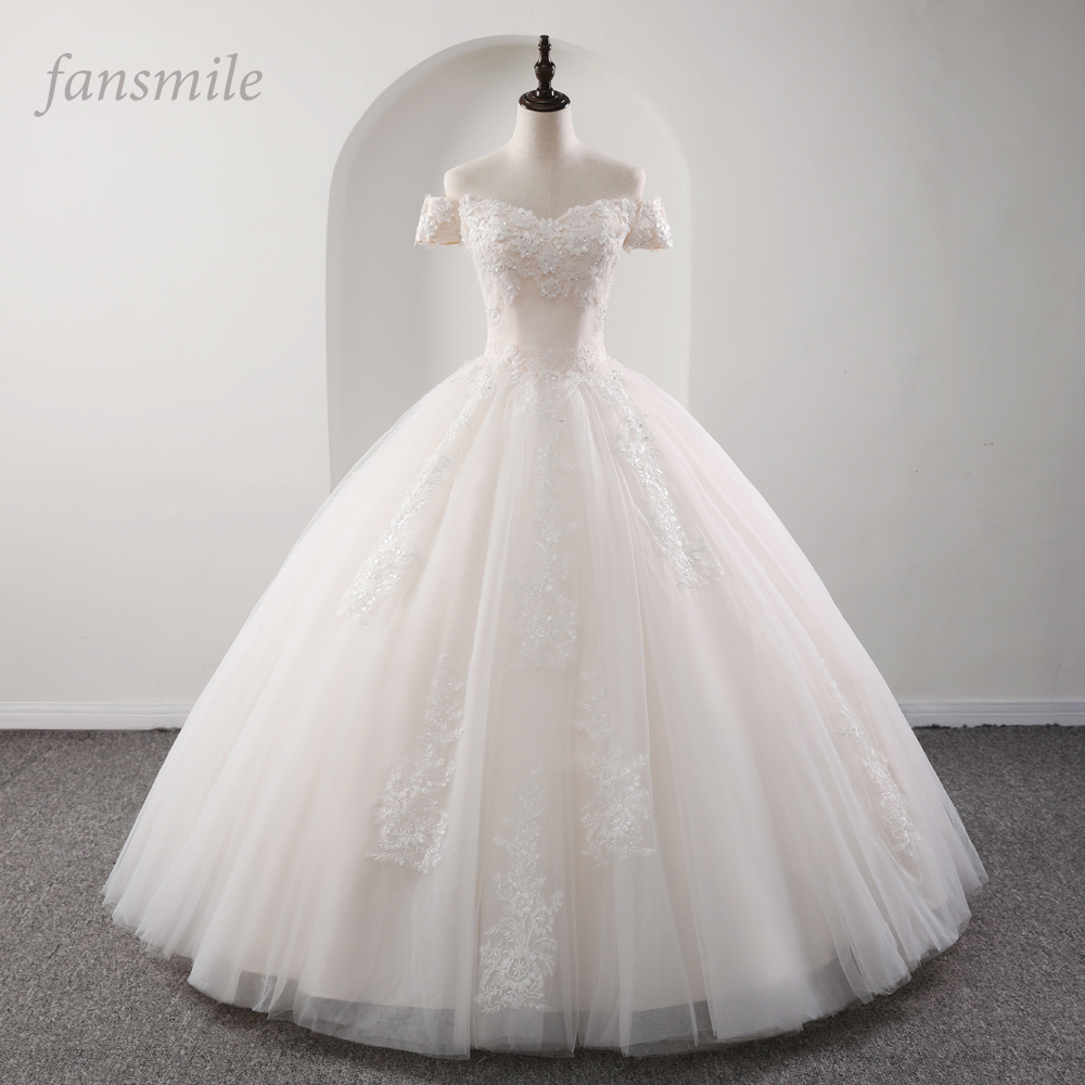 Fansmile 2020 Robe De Mariage Princess White Ball Gown Wedding Dresses Vestido De Noiva Plus Size Custom Wedding Gowns FSM-564F