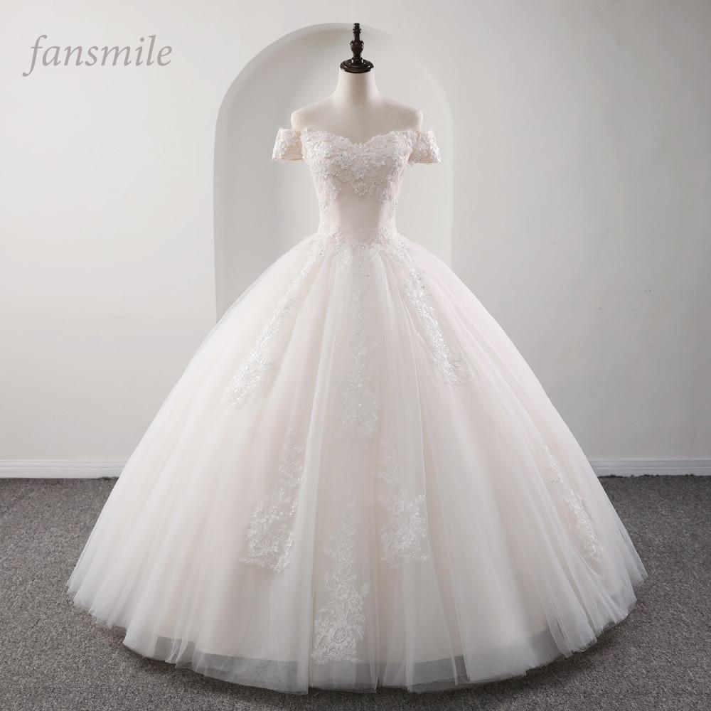 Fansmile 2020 Robe De Mariage Princess White Ball Gown Wedding Dresses Vestido De Noiva Plus Size Custom Wedding Gowns FSM-564F