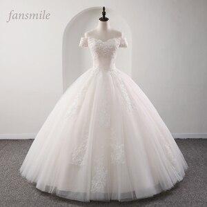 Image 1 - Fansmile 2020 رداء دي ماريج الأميرة الأبيض الكرة فساتين الزفاف Vestido De Noiva حجم كبير مخصص فساتين الزفاف FSM 564F