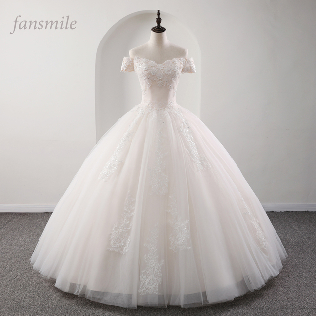 Fansmile 2020 رداء دي ماريج الأميرة الأبيض الكرة فساتين الزفاف Vestido De Noiva حجم كبير مخصص فساتين الزفاف FSM 564F