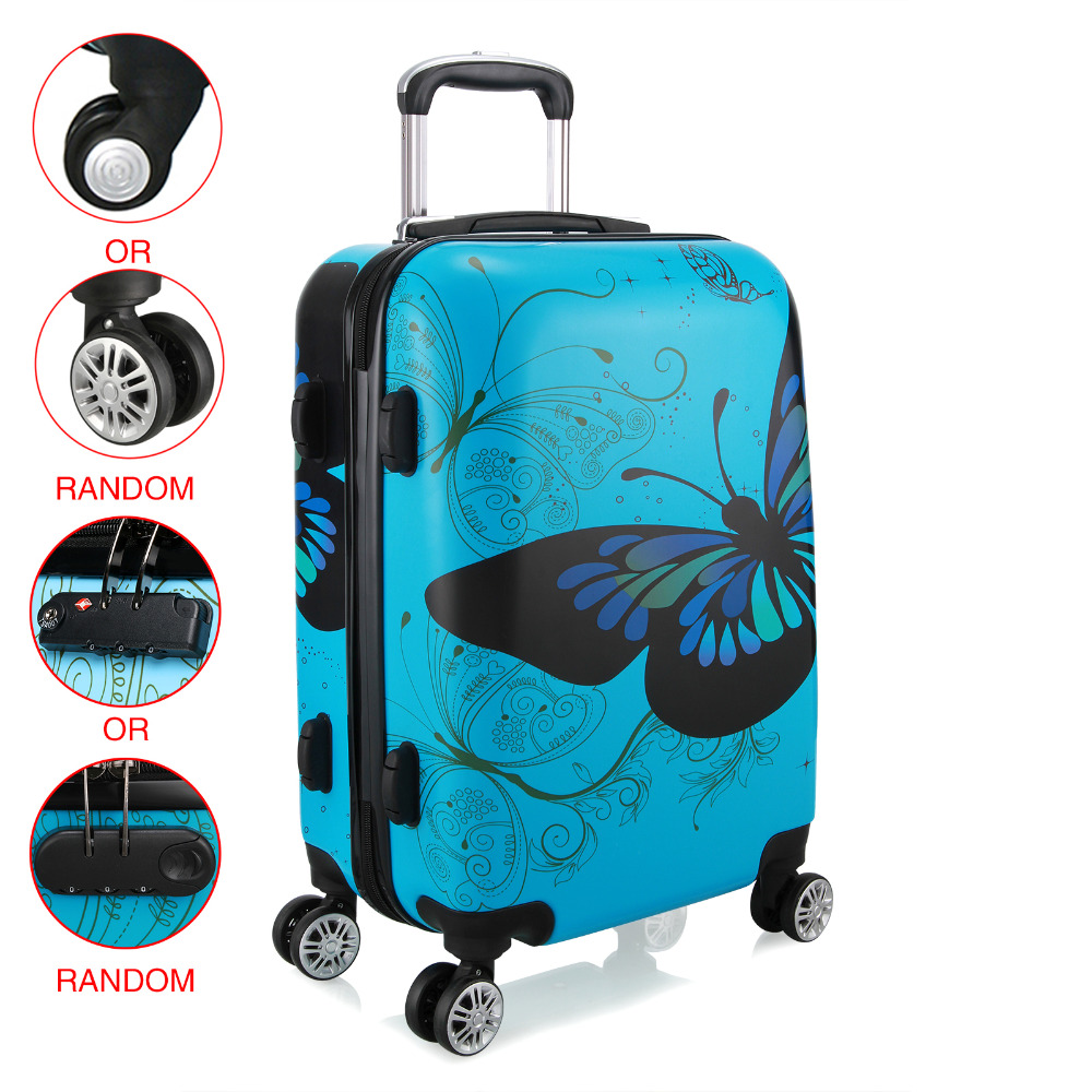 28 inch Unisex Trolley Luggage 4 Wheel Spinner Carry On Luggage Suitcase Butterfly PC Travel Trolley-in Rolling Luggage from Luggage & Bags    1