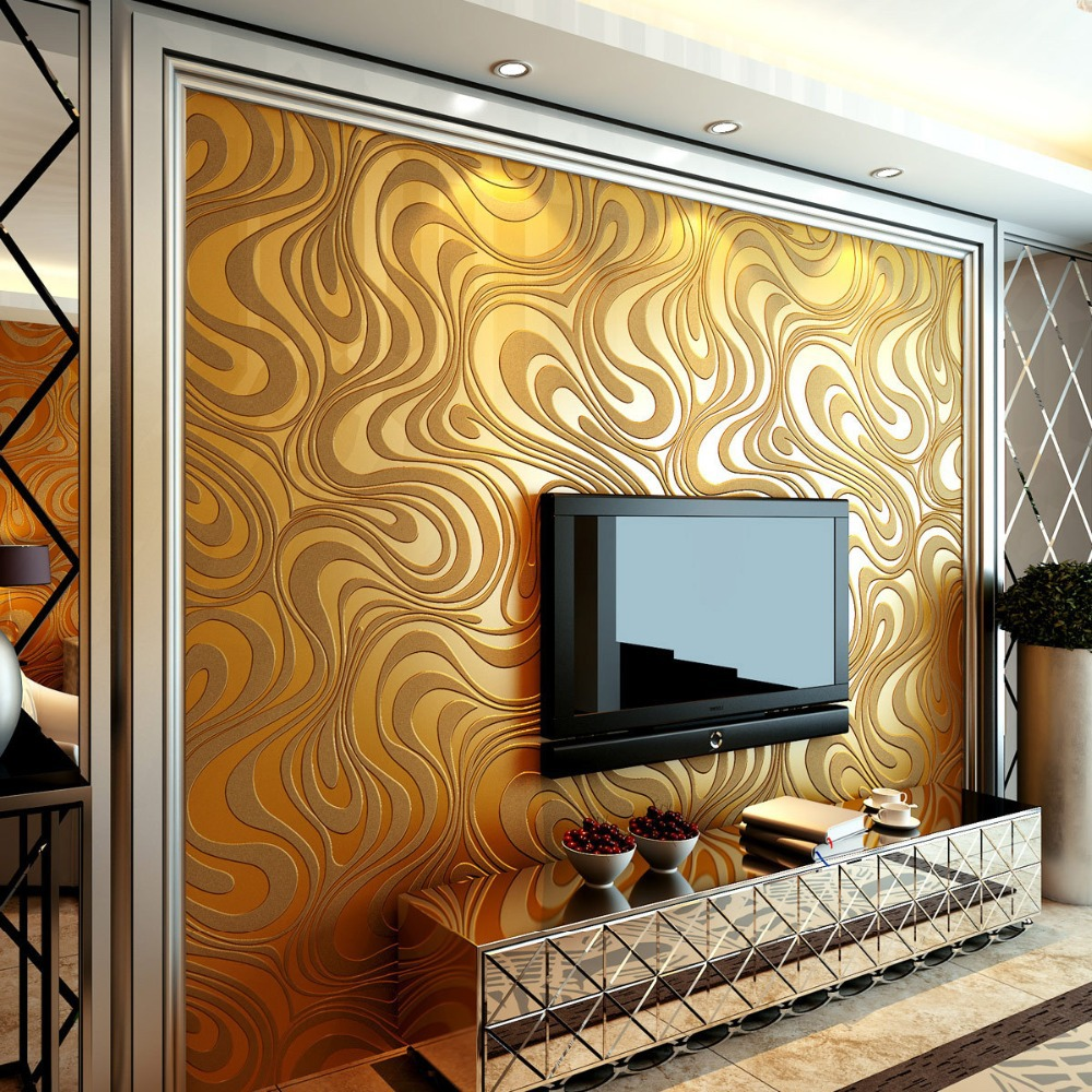 Captivating Aliexpress.com : Buy Beibehang Gold Mural Wall Paper Curve Abstract Papel  De Parede 3D Sprinkle Gold Wallpaper Home Decor For Living Room Bedroom  From ... Part 7