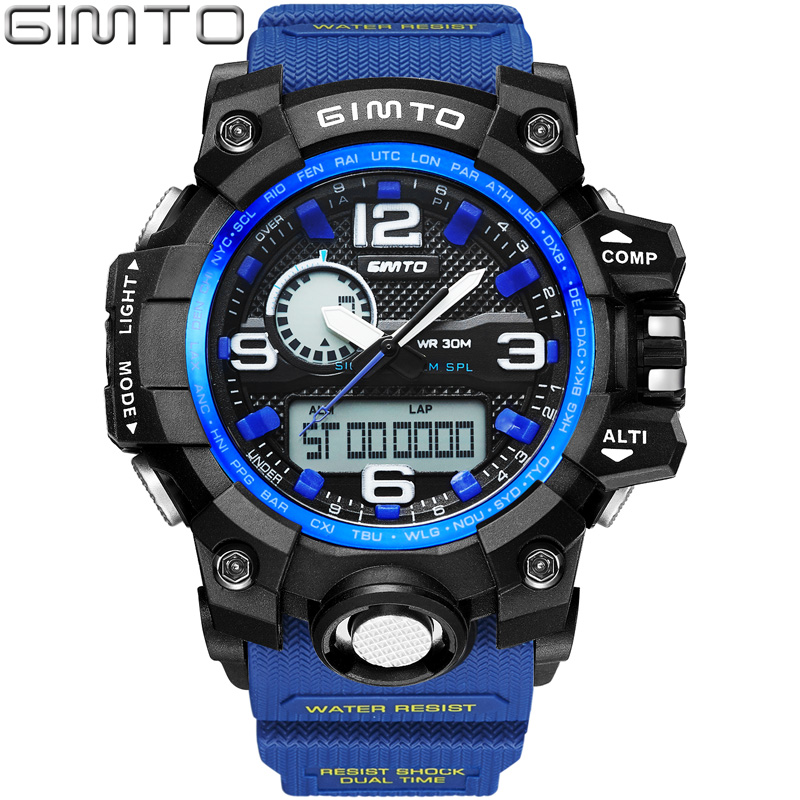 GIMTO Brand Digital Sport Watch Waterproof Men Military Watches Diving LED Wristwatch Male Clock Relogio Masculino Montre Homme 2016 hot brand gimto quartz digital sports watches men leather nylon led military army waterproof diving wristwatch reloj hombre