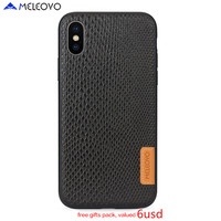 MELEOVO Brand For IPhone X Luxury European Ostrich Pattern Slim Leather Magnetic Fitted Back Cover Case
